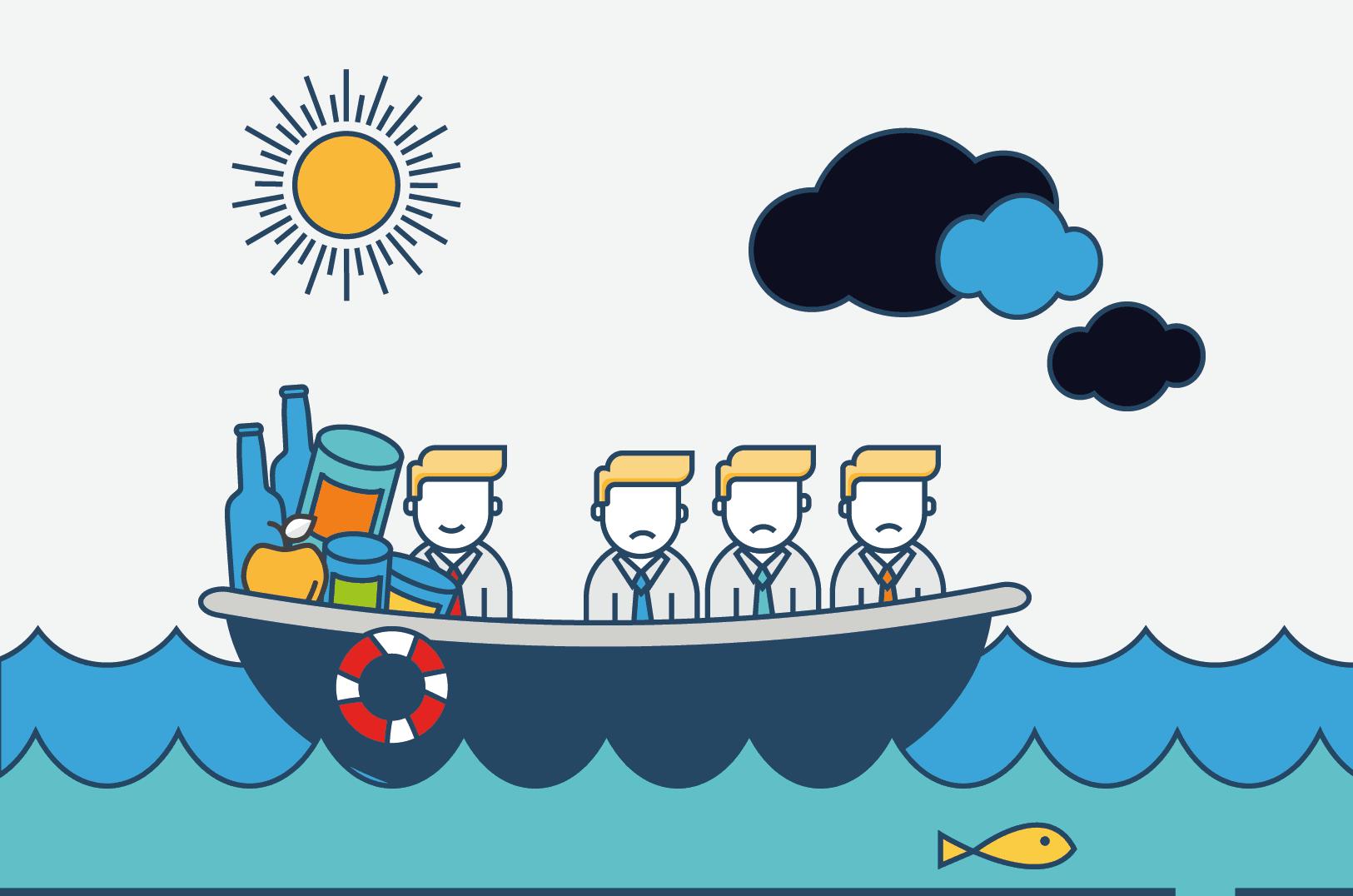 Rettungsboot mit Proviant für eine Person