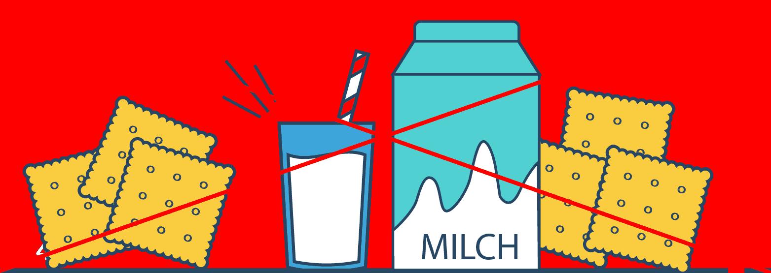 keine Milchprodukte und Getreideprodukte