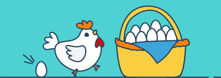 Henne und Eier in einem Korb