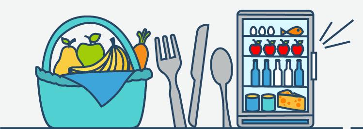 Beim Essse sparen: Kühlschrank und Obstkorb