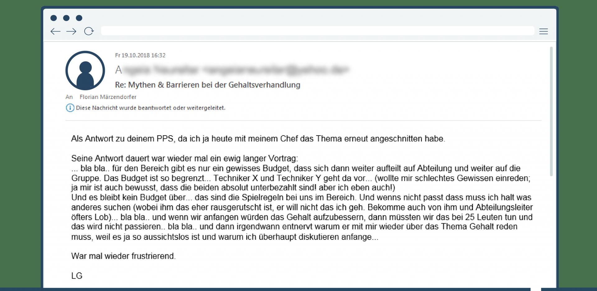 Mail Klientin keine Gehaltserhöhung