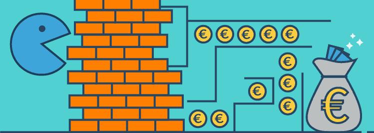 Pacmac Mauer Barriere zu Geldmünzen