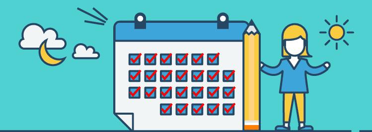 Kalender mit Häkchen - Gewohnheit First Level Thinking