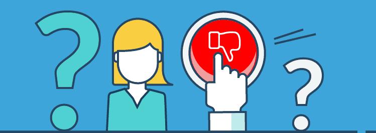 Roter Button mit Daumen nach Unten und Fragezeichen