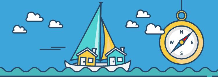 2 kleine Häuser auf Segelboot im Meer