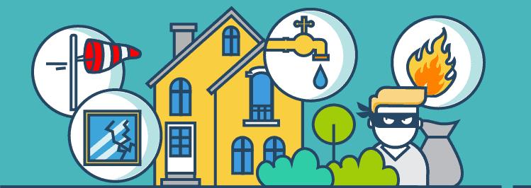 Haus mit Feuer-, Leitungswasser-, Sturm-, Einbruch-Diebstahl- und Haftpflichtschäden