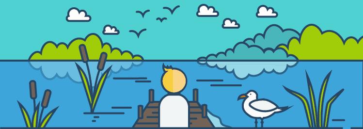allein sein am See mit Holzsteg