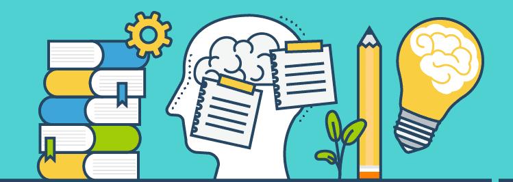 Gehirn mit Glühbirne und Bücher