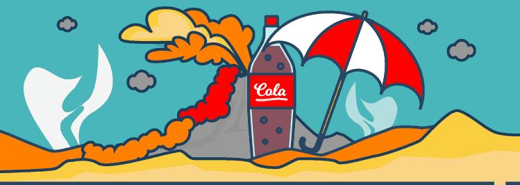 Weltuntergangsstimmung mit Vulkanausbruch und Cola Flasche und Schirm
